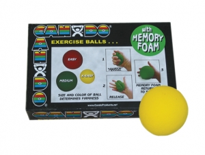 "CanDo Memory Foam Squeeze Ball - 2.5"" diameter - Yellow, x-easy"