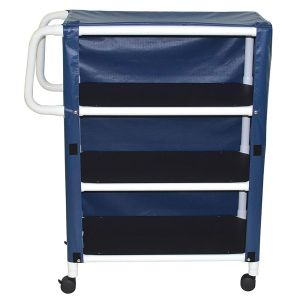 3-shelf utility / linen cart with mesh or solid vinyl cover