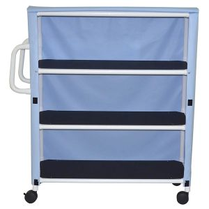 "3-shelf jumbo linen cart with mesh or solid vinyl cover - 5"" casters"