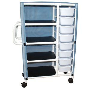 Combo cart with 4 shelves - 8 pull out tubs with mesh or solid vinyl cover