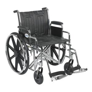 "Sentra EC Heavy Duty Wheelchair, Detachable Desk Arms, Swing away Footrests, 20"" Seat"