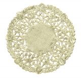 "Doilies - Asst'd Packages - 100 ct. 4"" round: white, gold, silver"