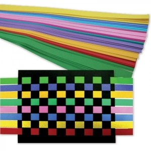 "Weaving Strips - Weaving Kit, 250 strips + 25 sheets 8.5""x11"" - black 80# tag"