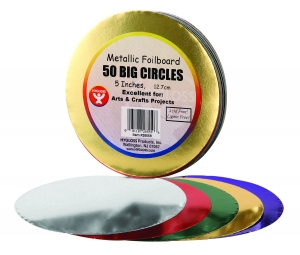 "Circles - 5"", 50 ct, Metallic foil board"