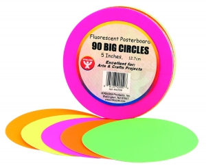 "Circles - 5"", 90 ct., Fluorescent poster board"