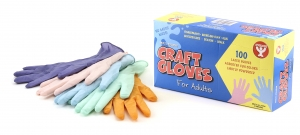 Colored Craft Gloves, 100 of Adult (boxed)