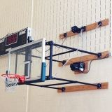 Basketball Backstop Fold Up System 42 Glass Rectangular Board with 10'-12' Extension