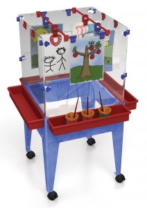 4-STATION SPACE SAVER EASEL, W/CLEAR