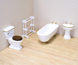 Four-piece bathroom set - Melissa & Doug Victorian Dollhouse and all 1:12 scale dollhouses