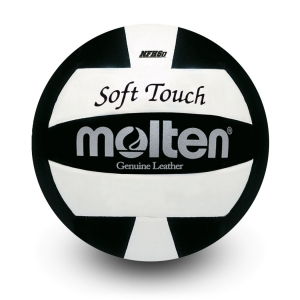 MOLTEN- Official Soft-Touch Volleyball with Genuine Leather Cover, Black
