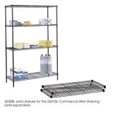 "Commercial Wire Shelving, Extra Shelf Pack, 48 x 18"", Black"
