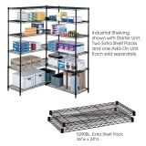 "Industrial Wire Shelving, Extra Shelf Pack, 24 x 36"", Black"