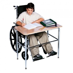 "Adjustable ADA Desk, w/20"" X 36-1/"" solid plastic top & U-brace"