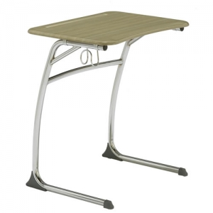 "Accolade Cantilever Desk, fixed height 29"", chrome frame, fiberboard top."