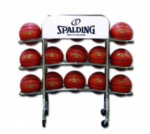 Spalding Basketball Replica Pro Ball Rack holds 15 full size basketballs durable chrome steel tubing swivel casters on-topple base angled rails f/fez removal