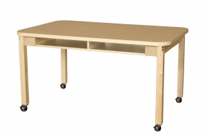 "Two Seater 18"" x 48"" High Pressure Laminate Desk with Hardwood Legs, Mobile, 26"" High"