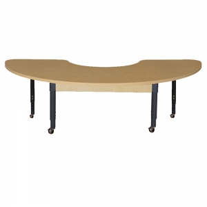 "Half Circle 22"" x 64"" High Pressure Laminate Table with Adjustable Legs, Mobile 14""-19"""
