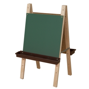 Tot Size Double Chalkboard Easel with Brown Trays