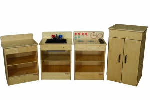 Set of (4) Tot Appliances with Standard Hutch with Brown Tray