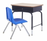 "Desk and Chair Set includes Open Front Desk with Metal Book Box, 24""x18"" and navy chair, 18"" high."